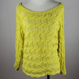 ANTHROPOLOGIE MOTH Bright Yellow Boatneck Sweater